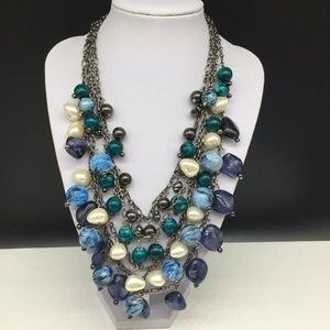 Chico's Faux Pearl Blue Beaded Statement Necklace